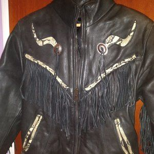 LOOK >> WOMAN MOTORCYCLE LEATHER Fringes JACKET